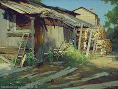 Barns - oil, canvas, x Vasendin Yury Classic Paintings, Beautiful Paintings, Landscape Art, Landscape Paintings, Country Art, Seascape Paintings, Old Barns, Russian Art, Environmental Art