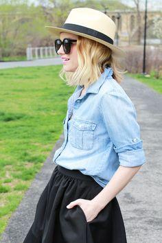 Chambray Skirt and Black Midi Skirt - via @poorlilitgirl