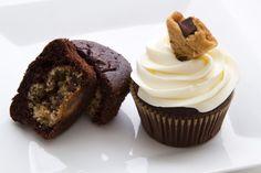 Cookie dough stuffed chocolate cupcakes