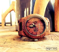 New- The Montana Chronograph Style Natural Men's Wood Watch. Mens' Gifts, Men's Watch.  Outdoors watch. Watches with a purpose. by MayaSaraWood on Etsy