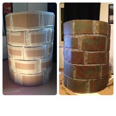 DIY Used some old cardboard boxes, wraped it around my round ikea laundry basket. Then cut the rest of the box in brick-size pieces. Fix it with masking tape. Then paint it ( i used a sponge and acrylic paint). Nerf Birthday Party, Nerf Party, Boy Birthday, What Is Halloween, Halloween Items, Scary Halloween Decorations, Halloween Haunted Houses, Ikea Laundry Basket, Drawing Simple