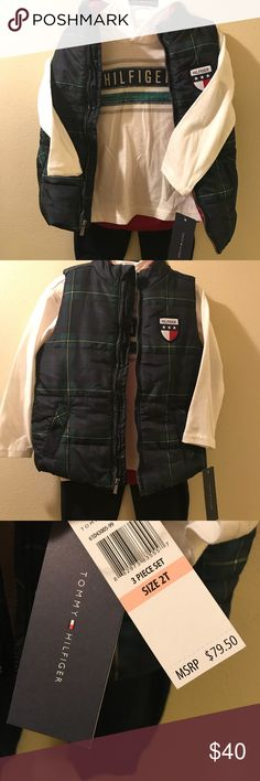 Tommy Hilfiger 3 pc set Tommy Hilfiger hoodie, vest, and pants set! NWT! Please no trades or offers ❤️ Tommy Hilfiger Matching Sets