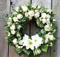 The circular design of a floral wreath captures a sense of completion and continuation. Our Prestige Custom Floral Wreath features a full display of our best flowers. The photographed wreath is our medium size. Church Flowers, Funeral Flowers, Wedding Flowers, Deco Floral, Arte Floral, Funeral Floral Arrangements, Flower Arrangements, Wreaths For Funerals, Funeral Sprays