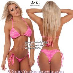 Neon Lace Bikini, Hot Pink Lace with nude lining and tie-side bottom.