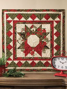 "Season's Greetings Wall Hanging Pattern ~ easy level ~ gorgeous on any wall ~ finished size is 20"" x 20"" ~ very festive and bright ~ QUILTING"