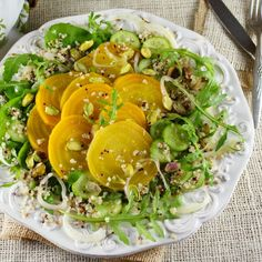 Golden Beet Arugula Salad with Key Lime Champagne Vinaigrette / Patty Price / Patty's Food
