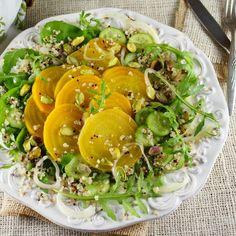 Golden Beet Arugula Salad with Key Lime Champagne Vinaigrette
