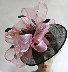 Ladies pink and black derby ascot hat by alicehartcouture on Etsy, $175.00