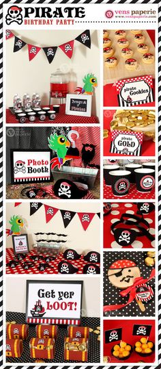 Red Pirate Birthday Party - DIY PRINTABLE BLANK Food Label - Instant Download