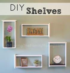 DIY Shelves - Check out these unique DIY Shelves you can make on the cheap. DIY Shelves - Check out Box Shelves, Drawer Shelves, Diy Wall Shelves, Floating Shelves Diy, Shelving Ideas, Wooden Shelves, Easy Shelves, House Shelves, Shelf Ideas
