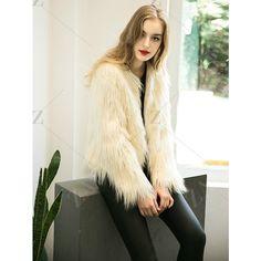 Fluffy Faux Fur Coat ($28) ❤ liked on Polyvore featuring outerwear, coats, fake fur coats, imitation fur coats, white coat, faux fur coat and white faux fur coat
