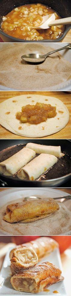 Fried filo pastry rolls stuffed with applesauce Rollitos de pasta brick fritos, rellenos de compota de manzana. Subido de Pinterest. http://www.isladelecturas.es/index.php/noticias/libros/835-las-aventuras-de-indiana-juana-de-jaime-fuster