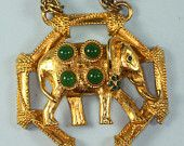 Vintage Elephant Pendant Necklace Orignal by Robert