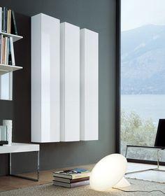 Open system, white gloss wall mounted storage units