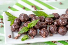 Make Raw Mint Chocolate Chip Energy Balls with this healthier dessert or pre-workout snack recipe.
