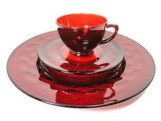 Image detail for -pc. Ruby Red Glass, 4 Cups,4 Dessert Plates, 4 Dinner Plates, Vintage ...