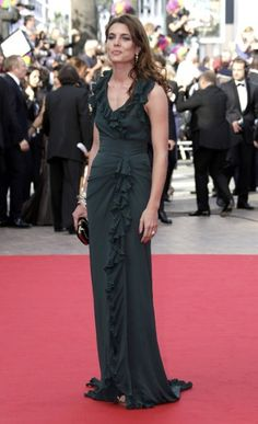 Monaco royal Charlotte Casiraghi wore a ruffled gown from the Gucci autumn/winter 2012 catwalk collection.     Few Gucci collections for men and accessories at http://www.luxebutik.com/gucci-m14