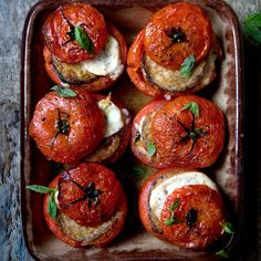 Gennaro's twist on the classic Italian dish is made with with stuffed tomatoes makes a moreish side or serve with some crusty bread for mopping, for a scrumptious meat-free meal.