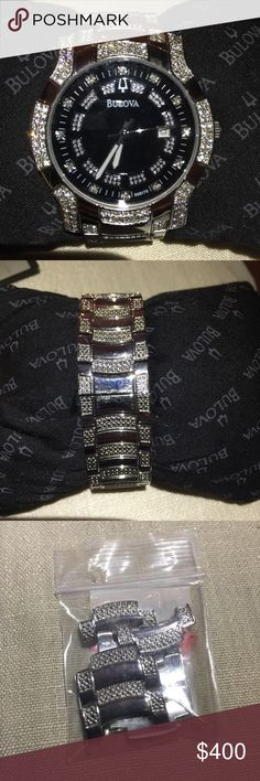 Bulova Mens Watch Crystal stainless steel w/extra links Bulova Accessories Watches