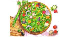 Salad Watercolor Leafy green lettuce original by SharonFosterArt