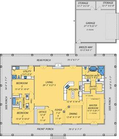 Find your dream farm style house plan such as Plan which is a 2560 sq ft, 3 bed, 3 bath home with 2 garage stalls from Monster House Plans. Pole Barn House Plans, Pole Barn Homes, Shop House Plans, New House Plans, Dream House Plans, House Floor Plans, Pole Barns, Barn Plans, Dream Houses