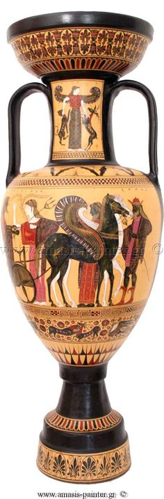 Black-figure Amphora, Poseidon's chariot, Hermes standing on the right, Potnia Theron on the neck. [Hermes, leader of the sun in red winged shoes and red had, caduceus. Who might be in the chariot with a black and white horse?]