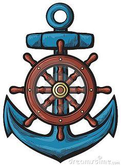 Vector: rudder - ship wheel and banner