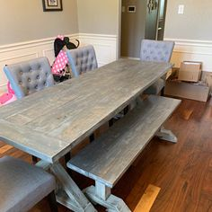 Rustic Wooden Buffet Table, Rustic Console Table, Farmhouse Buffet Table, White Wash with White Distressed Base and Dark Walnut Top Rustic Dining Set, Farmhouse Table With Bench, Rustic Console Tables, Rustic Farmhouse Table, Metal Dining Chairs, Dining Table, Barnwood Coffee Table, Moving Furniture, Grey Table