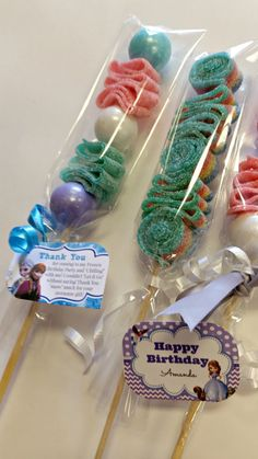 Lollipops Party Favors Candy Kabob Skewers Sticks by JandECuties, $1.75 - thank you saying