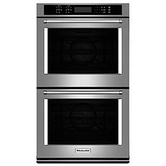 KitchenAid Self-Cleaning Double Electric Wall Oven (Stainless Steel) (Common: 30 Inch; Actual: at Lowe's. Designed to impress in both style and function, this KitchenAid double electric wall oven will be the centerpiece of your kitchen upgrade. Each oven Best Double Oven, Double Ovens, Casa Magna, Cleaning Oven Racks, Steam Cleaning, Electric Wall Oven, Convection Cooking, Large Oven, Stainless Steel Oven