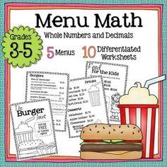 math worksheet : chickfila menu money math  worksheets  math worksheets math and  : Menu Math Worksheets
