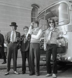 John Lennon, Richard Starkey, Paul McCartney, and George Harrison (Beatles Full Bus - Rare Beatles pics)