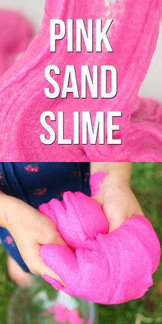 This squishy sand slime is only 4 ingredients and has an amazing smoothy yet gritty texture - a fun twist on fluffy slime slime no glue video Pink Sand Slime Edible Slime, Vídeos Slime, Sand Slime, Slime Craft, Glitter Slime, Fluffy Slime Recipe, Easy Slime Recipe, Galaxy Slime, Crafts For Kids To Make