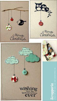 Leuk idee hoe je knopen op een kaart kunt gebruiken. Gecombineerd met stempels. Knopen als kerstbal, dat is weer leuk voor een kerstkaart.