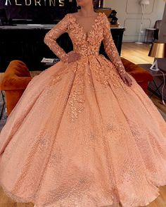 long prom dresses - Full Sleeve Appliques Tulle Quinceanera Dresses, Sexy V Neck Ball Gowns, Long Prom Dresses Peach Prom Dresses, Quince Dresses, Sweet 16 Dresses, Ball Dresses, Pretty Dresses, 15 Dresses, Beautiful Dresses, Ball Gowns, Formal Dresses