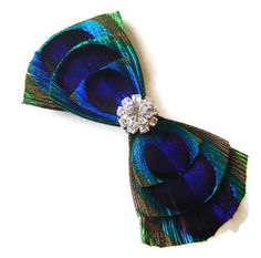 Peacock Hair Clip SWEET BOW Feather and Rhinestone by maggpieseye, $16.00