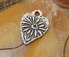Artisan Handcrafted Solid Sterling Silver Flower Heart by Calieri, $24.97