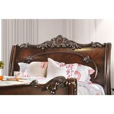 Shop Furniture of America Cane Traditional Cherry Solid Wood Sleigh Bed - Overstock - 9216406 Wood Sleigh Bed, Sleigh Beds, Cherry Sleigh Bed, Wood Molding, King Bedroom, Headboard And Footboard, Panel Bed, Wood Patterns, Wood Veneer