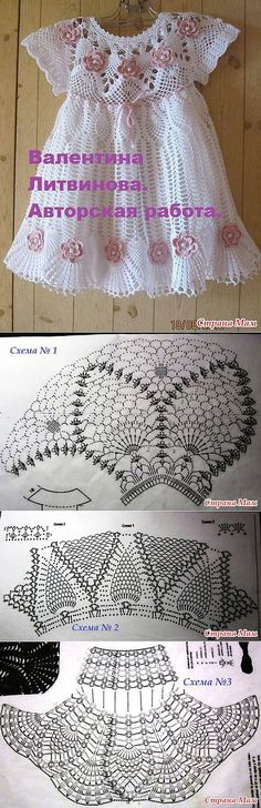 New Baby Girl Crochet Dress Website Ideas Crochet Dress Girl, Baby Girl Crochet, Crochet Baby Clothes, Crochet For Boys, Crochet Dresses, Crochet Stitches, Knit Crochet, Crochet Hats, Crochet Designs