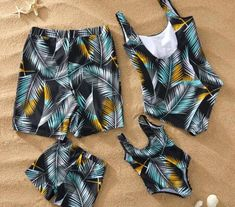 Leaf Swimsuit Family Matching Outfits Look Mother Daughter Swimwear Mommy and Me Bikini Dress Clothes Father Son Swimming Shorts Short One Piece, Sheer Lace Lingerie, Matching Family Outfits, Matching Clothes, Bikini Dress, Swimsuits, Swimwear, One Piece Swimsuit, Body