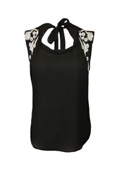 Black halter top with white crochet lace embroidery detail #getfussed