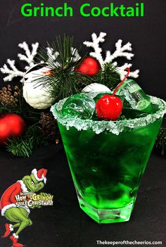 Grinch Cocktail, adult drink, Adult Christmas drink clever christmas decorations, christmas ideas decoration diy, christmas ideas diy decoration christmas drinks Grinch Cocktail - The Keeper of the Cheerios Christmas Party Drinks, Grinch Christmas Party, Noel Christmas, Holiday Cocktails, Holiday Parties, Grinch Party, Christmas Party Ideas For Adults, Christmas Ideas, Christmas Recipes