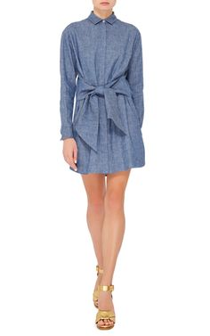 Chambray Dress With Knotted Detail by MSGM Now Available on Moda Operandi