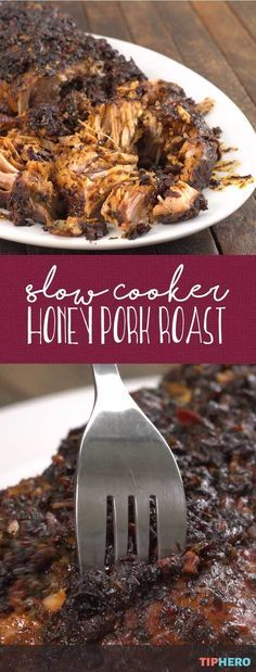 Slow cooker honey pork roast | 'Tis the season to pull out the slow cooker. And why not try something new with this melt in your mouth Slow Cooker Honey Pork Roast.... soooo good!  #familydinner #dinnertime #easyrecipes #fall