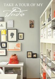 love the wall grouping, bookcase and airy feeling in this office