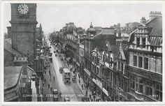 Commercial Street Newport from the Early Newport Gwent, Commercial Street, Cymru, My Heritage, Old Photos, Wales, Times Square, Valentines, Classic