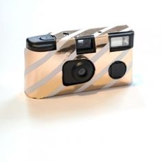 DIY Gold Striped Disposable Cameras. YOU WILL BE OBSESSED.