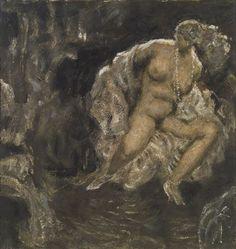 Alfons Walde - Sitzender Akt mit Kette im Interieur (1920)