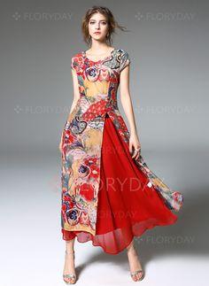 Red Silk Floral Print Two Pieces Maxi Dress, Red, Elenyun Mob Dresses, Women's Fashion Dresses, Ao Dai, Vestidos Vintage, Vintage Dresses, Look Fashion, Girl Fashion, Fashion Design, Pretty Outfits