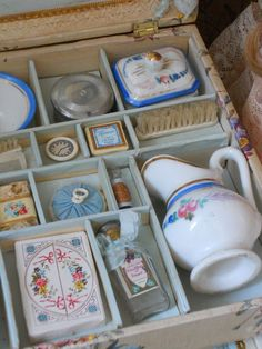 """~~~All Original Doll´s Toilette in Wonderful rare Presentation Box 10"""" x 8"""" ( 25 x 20 cm ) wooden box has very decorative flowered cream paper covering with beautiful lithographed scene on the lid ~~~ from When Dreams  Come True via rubylane 9/5/15 $1,498.00 USD"""